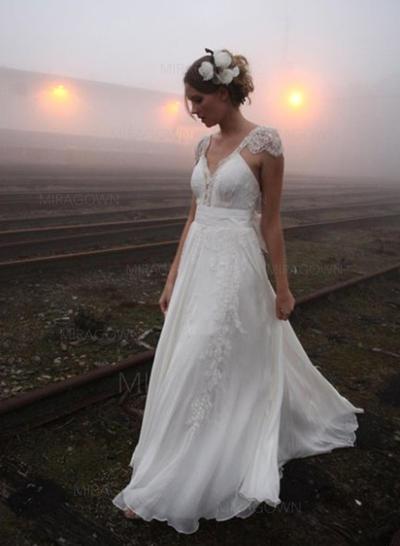 Forme Princesse Mousseline de soie Sans manches Col V Traîne moyenne Bretelles couvrantes Robes de mariée (002144853)