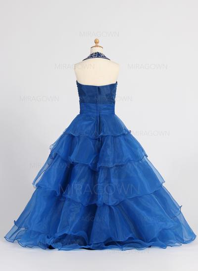 Magnifique Dos nu Forme Princesse Robes de demoiselle d'honneur - fillette Longueur ras du sol Organza Sans manches (010007648)