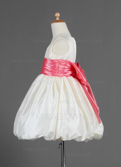 Nouveauté 2018 Col rond Robe Empire Robes de demoiselle d'honneur - fillette Longueur genou Taffeta Sans manches (010014665)