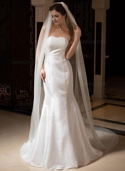 Voiles de mariée cathédrale Tulle 2 couches Ovale/Voile goutte avec Bord de coupe Voiles de mariage (006036027)