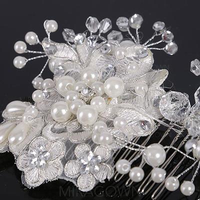 Elegant Crystal/Imitert Perle/Blonder Kammer og Barrettes (Selges i ett stykke) (042130220)