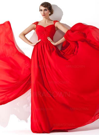 Forme Princesse Mousseline Robes de soirée Plissé Brodé Col V Sans manches Traîne watteau (017013781)