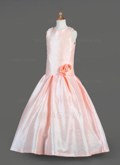Glamour Col rond Forme Princesse Robes de demoiselle d'honneur - fillette Longueur ras du sol Taffeta Sans manches (010014651)