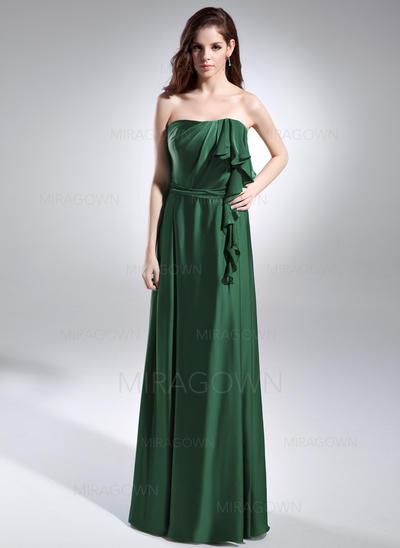 Forme Princesse Charmeuse Robes de soirée Robe à volants Sans bretelle Sans manches Longueur ras du sol (017015596)