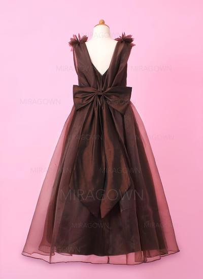 Chic Col rond Forme Princesse Robes de demoiselle d'honneur - fillette Longueur ras du sol Organza/Charmeuse Sans manches (010002147)