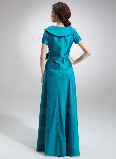 Forme Princesse Taffeta Manches courtes Col V Longueur ras du sol Fermeture éclair Robes mère de la mariée (008006023)