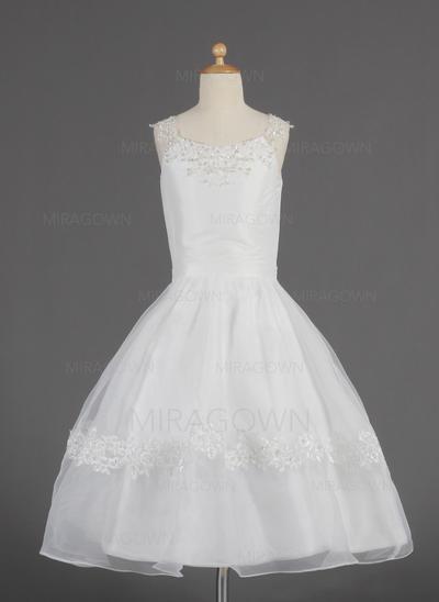 Le plus récent Col rond Forme Princesse Robes de demoiselle d'honneur - fillette Longueur mollet Organza Sans manches (010014622)