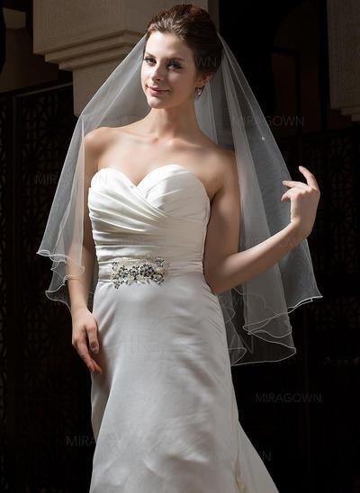 Voile de mariée longueur bout des doigts Tulle 1 couche Style Classique avec Bord festonné Voiles de mariage (006034303)