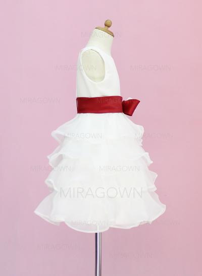 Nouveauté 2018 Col rond Forme Princesse Robes de demoiselle d'honneur - fillette Longueur genou Organza/Satiné Sans manches (010005330)