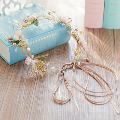 """Bandeaux Mariage/Fête Strass/De faux pearl/Fleur en soie 13.78""""(Approximative 35cm) 1.97""""(Approximative 5cm) Accessoires de coiffure (042120245)"""