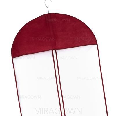 Housse à vêtements Longueur de robe Fermeture éclair centrale Tulle/Non-tissés Bordeaux Housse pour tenue de mariage (035024121)