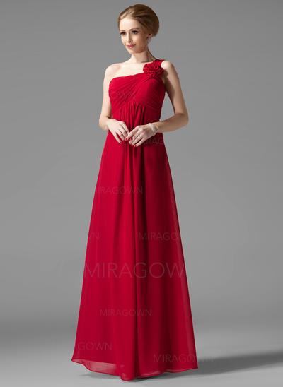 Robe Empire Mousseline Robes demoiselle d'honneur Plissé Fleur(s) Seule-épaule Sans manches Longueur ras du sol (007013957)
