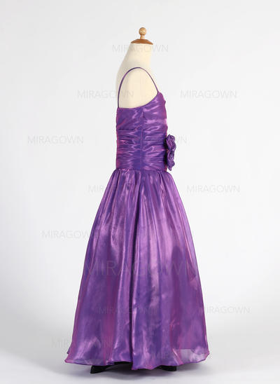 Amoureux Sans manches Robes de demoiselle d'honneur - fillette Plissé/Fleur(s) Sans manches Longueur ras du sol Forme Princesse (010014612)