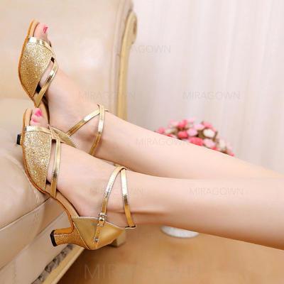 Femmes Latin Sandales Similicuir Pailletes scintillantes avec Lanière de cheville Chaussures de danse (053102993)