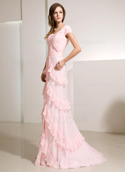 robes de soirée longue robe de bal rouge