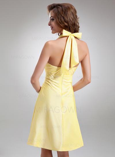 Forme Princesse Taffeta Robes demoiselle d'honneur Plissé À ruban(s) Dos nu Sans manches Longueur genou (007197462)