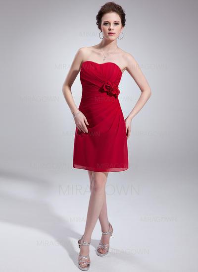 Chic Mousseline Robes demoiselle d'honneur Forme Princesse Court/Mini Amoureux Sans manches (007198580)