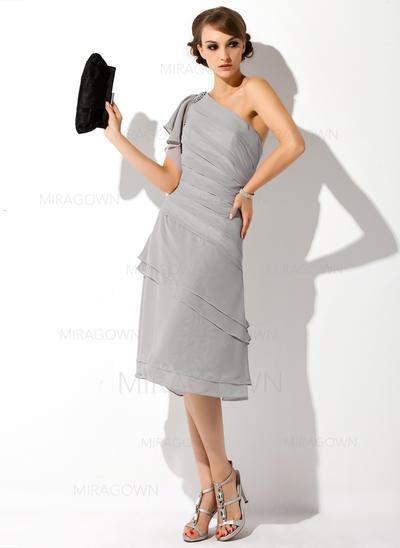 Forme Princesse Mousseline Manches courtes Seule-épaule Longueur genou Fermeture éclair Robes mère de la mariée (008006282)