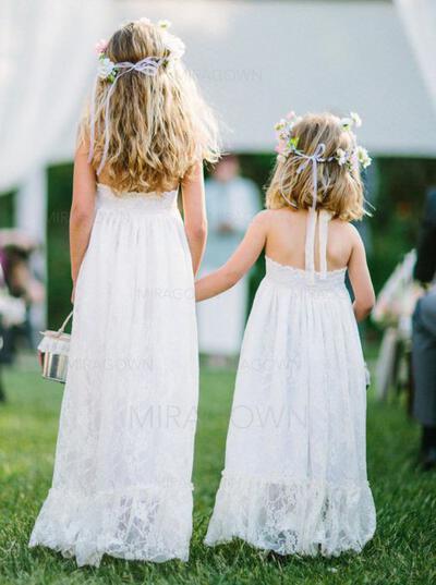 Chic Dos nu Forme Princesse Robes de demoiselle d'honneur - fillette alayage/Pinceau train Dentelle Sans manches (010146726)