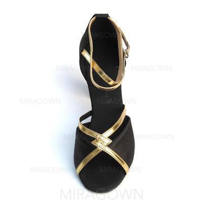 Femmes Latin Talons Sandales Satiné Similicuir avec Lanière de cheville Chaussures de danse (053082943)