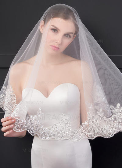 1 couche Bord en dentelle Voile de mariée longueur coude avec Paillette/Dentelle (006150928)