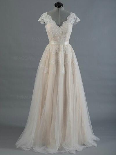 Forme Princesse Tulle Sans manches Col V alayage/Pinceau train Robes de mariée (002147931)