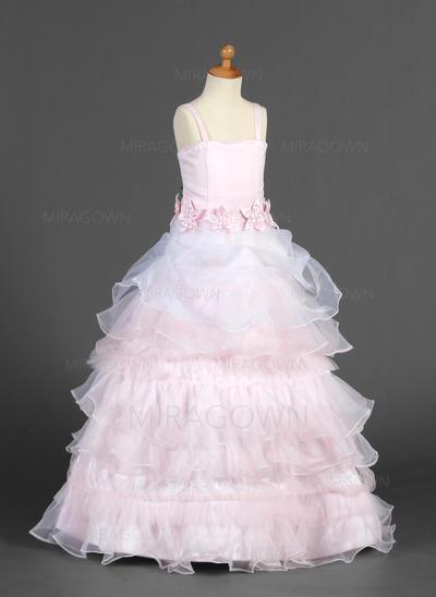Luxueux Bretelles Forme Princesse Robes de demoiselle d'honneur - fillette Longueur ras du sol Organza/Satiné Sans manches (010014655)