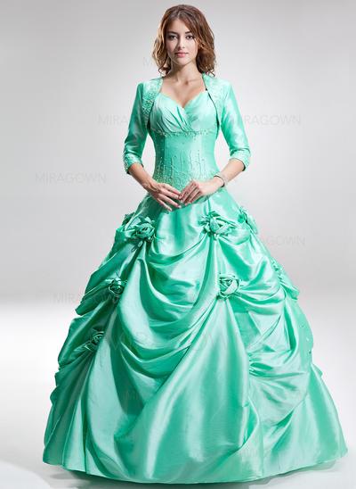 Luxueux Amoureux Sans manches Robes de bal Longueur ras du sol Taffeta Robe Marquise (018135410)