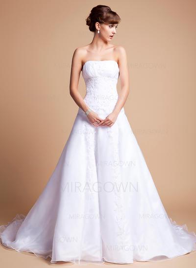 Forme Princesse Satiné Organza Sans manches Chérie Traîne mi-longue Sans bretelle Robes de mariée (002196873)
