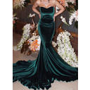 Velvet Trumpet/Mermaid Delicate Evening Dresses Sleeveless (017146417)