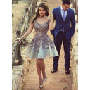 Satin Sleeveless A-Line/Princess Prom Dresses Off-the-Shoulder Knee-Length (018146624)