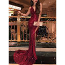 Sequined Sleeveless Trumpet/Mermaid Prom Dresses Cowl Neck Ruffle Sweep Train (018218131)