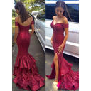 Sequined Sleeveless Trumpet/Mermaid Prom Dresses Off-the-Shoulder Sweep Train (018210248)