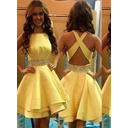 Satin Sleeveless Knee-Length Scoop Neck Homecoming Dresses (022212287)