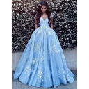 Sleeveless Ball-Gown Tulle Appliques Prom Dresses (018148398)