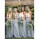 Chiffon Sleeveless A-Line/Princess Bridesmaid Dresses V-neck Ruffle Floor-Length Detachable (007211583)