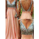 Sequins Chiffon V-neck Sleeveless Prom Dresses (018145616)