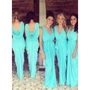 Sheath/Column Jersey Bridesmaid Dresses Ruffle Bow(s) V-neck Sleeveless Floor-Length (007145038)