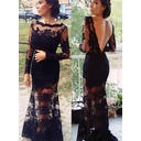 Trumpet/Mermaid Scoop Neck Lace Long Sleeves Simple Prom Dresses (018145857)