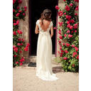 A-Line/Princess V-neck Sweep Train Tulle Wedding Dresses (002144833)