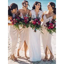Chiffon Sleeveless Sheath/Column Bridesmaid Dresses V-neck Ruffle Asymmetrical (007145161)