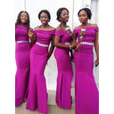 Off-the-Shoulder Trumpet/Mermaid Satin Sleeveless Bridesmaid Dresses (007145042)