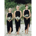 Chiffon Sleeveless Sheath/Column Bridesmaid Dresses Scoop Neck Ruffle Asymmetrical (007145182)