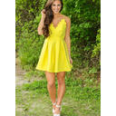 Princess Satin Homecoming Dresses A-Line/Princess Short/Mini V-neck Sleeveless (022217552)