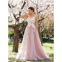 Tulle Sleeveless A-Line/Princess Prom Dresses Appliques Lace Floor-Length (018148406)