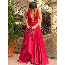 Charmeuse Sleeveless A-Line/Princess Prom Dresses V-neck Sweep Train (018145963)