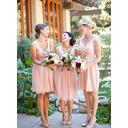 Chiffon Sleeveless A-Line/Princess Bridesmaid Dresses V-neck Ruffle Knee-Length (007145173)
