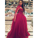 Glamorous Tulle Evening Dresses Ball-Gown Floor-Length Scoop Neck Long Sleeves (017196703)
