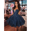 Beading A-Line/Princess Short/Mini Satin Homecoming Dresses (022216261)