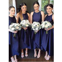 Satin Sleeveless A-Line/Princess Bridesmaid Dresses Scoop Neck Ruffle Asymmetrical (007211699)